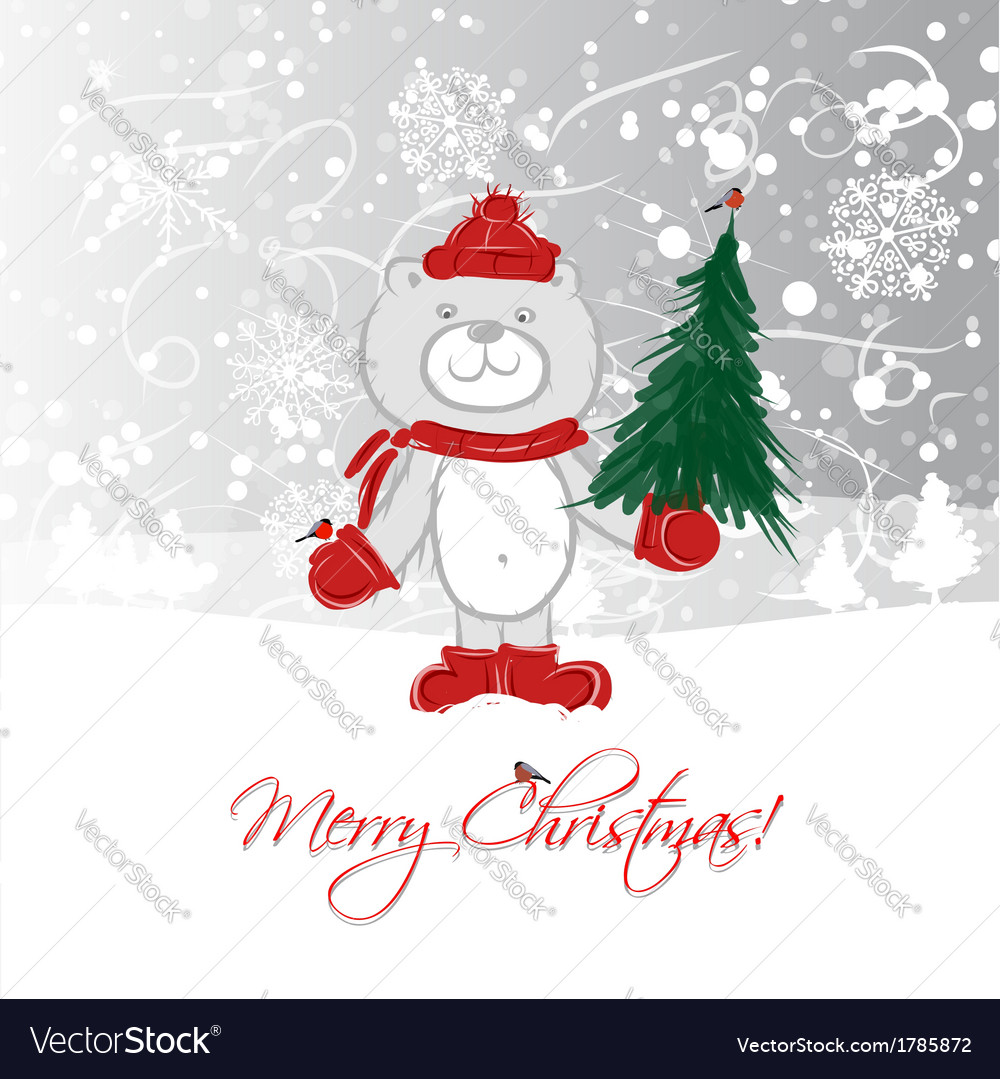 Christmas card design with funny bear vector | Price: 1 Credit (USD $1)