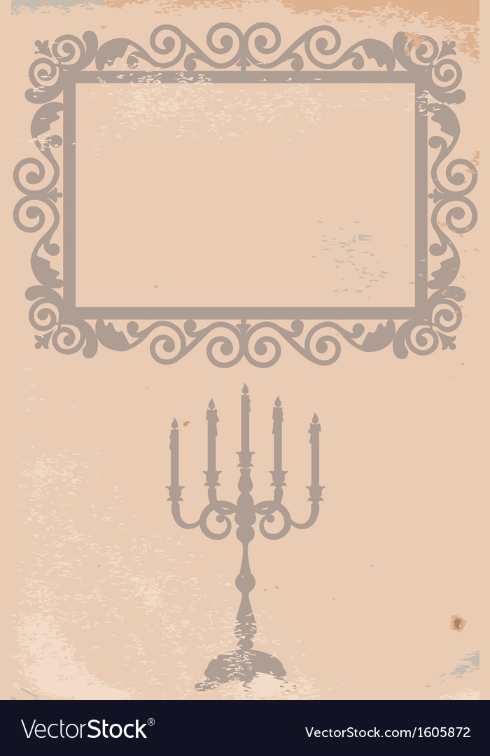 Old texture with frame and candlestick vector | Price: 1 Credit (USD $1)