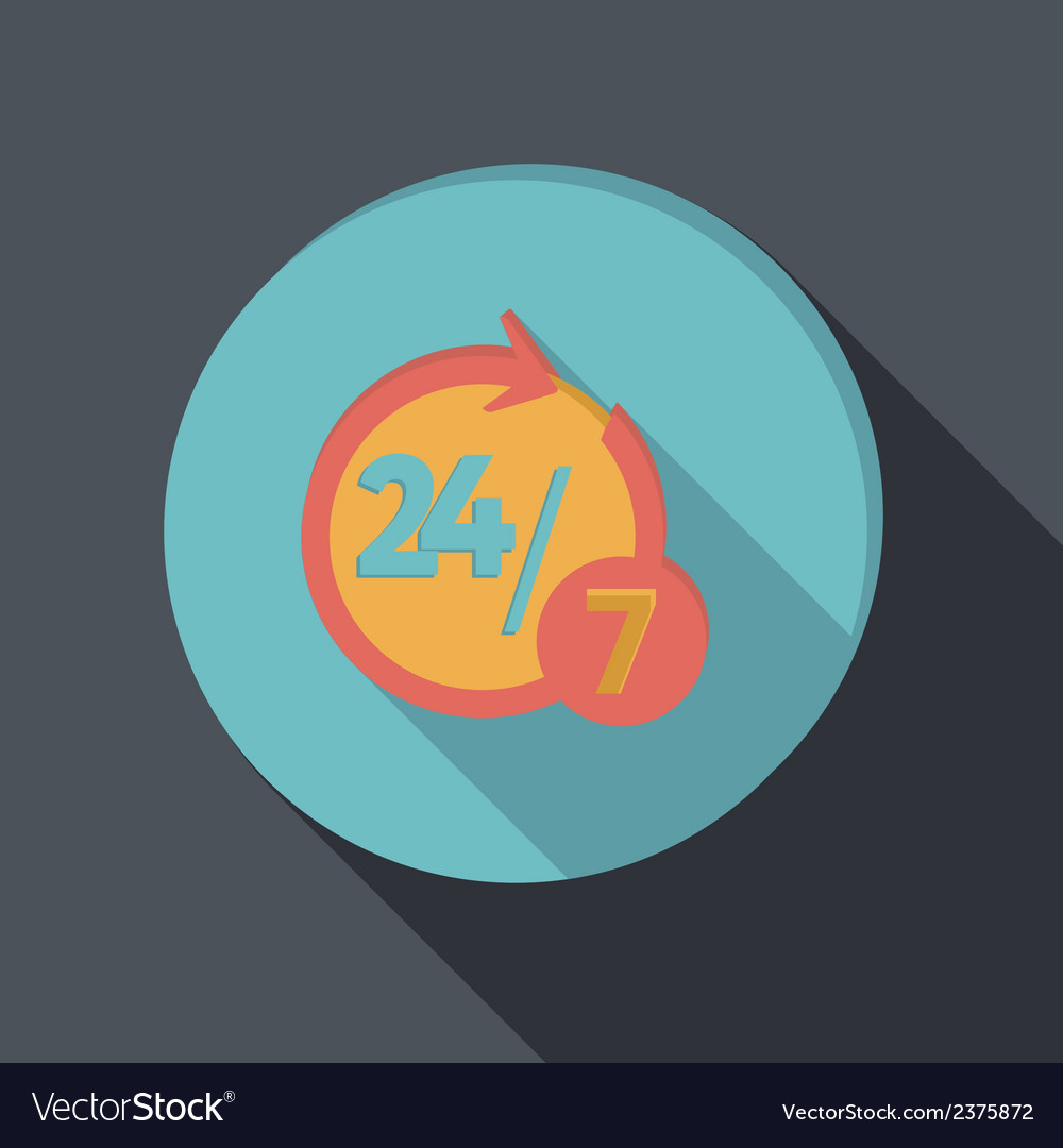 Paper flat icon character 24 7 vector | Price: 1 Credit (USD $1)