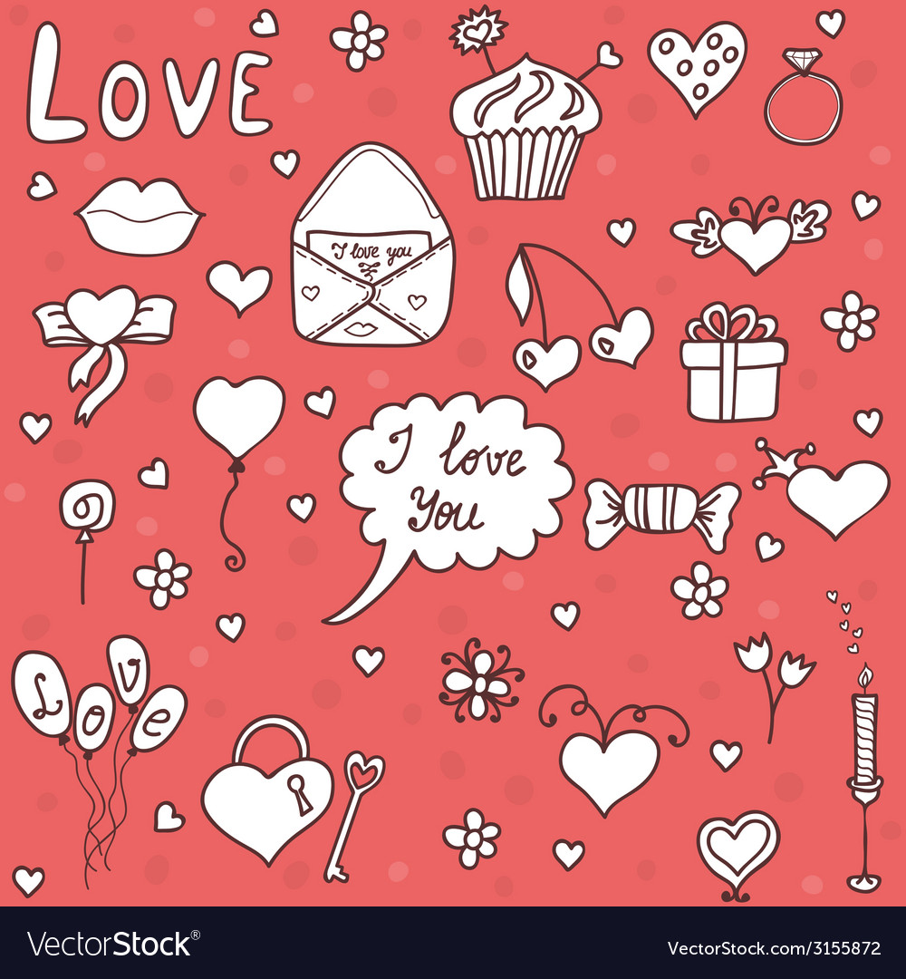 Romantic set in cartoon style vector | Price: 1 Credit (USD $1)