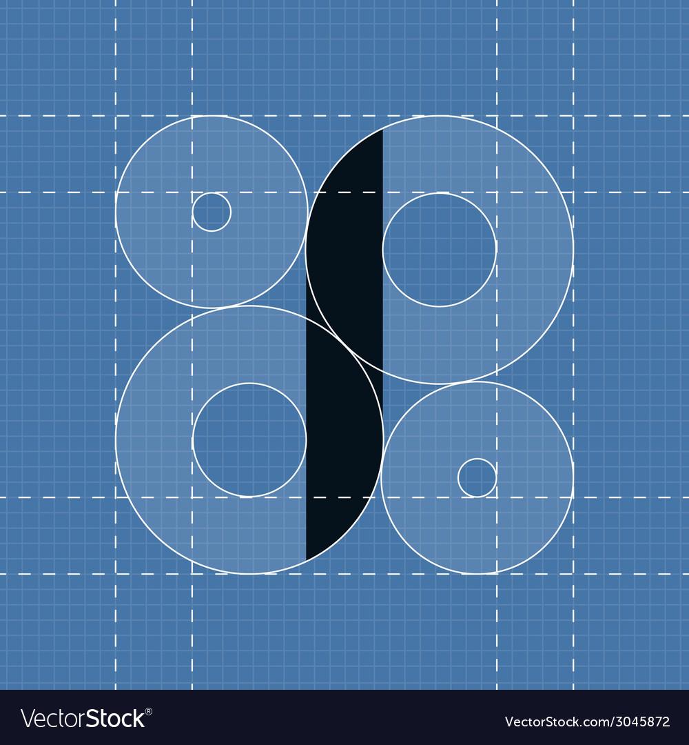 Round engineering font symbol i vector | Price: 1 Credit (USD $1)