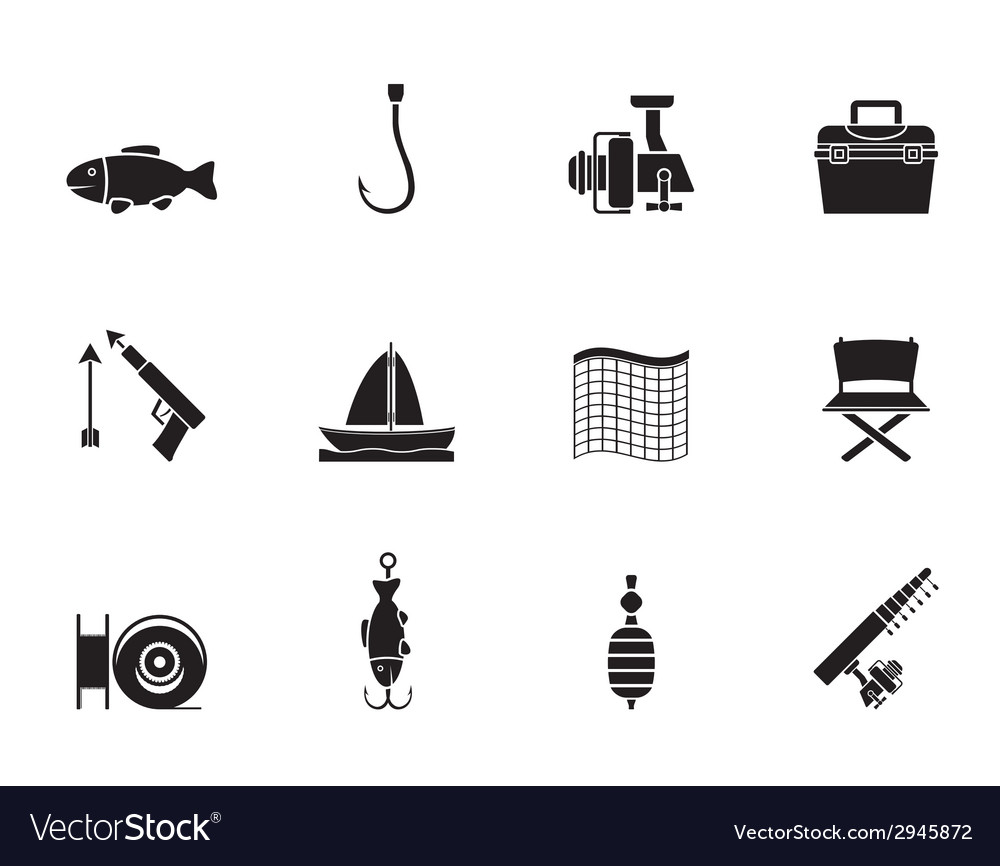 Silhouette fishing and holiday icons vector | Price: 1 Credit (USD $1)