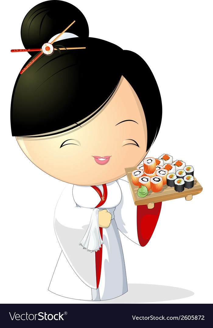 Sushi girl vector | Price: 1 Credit (USD $1)