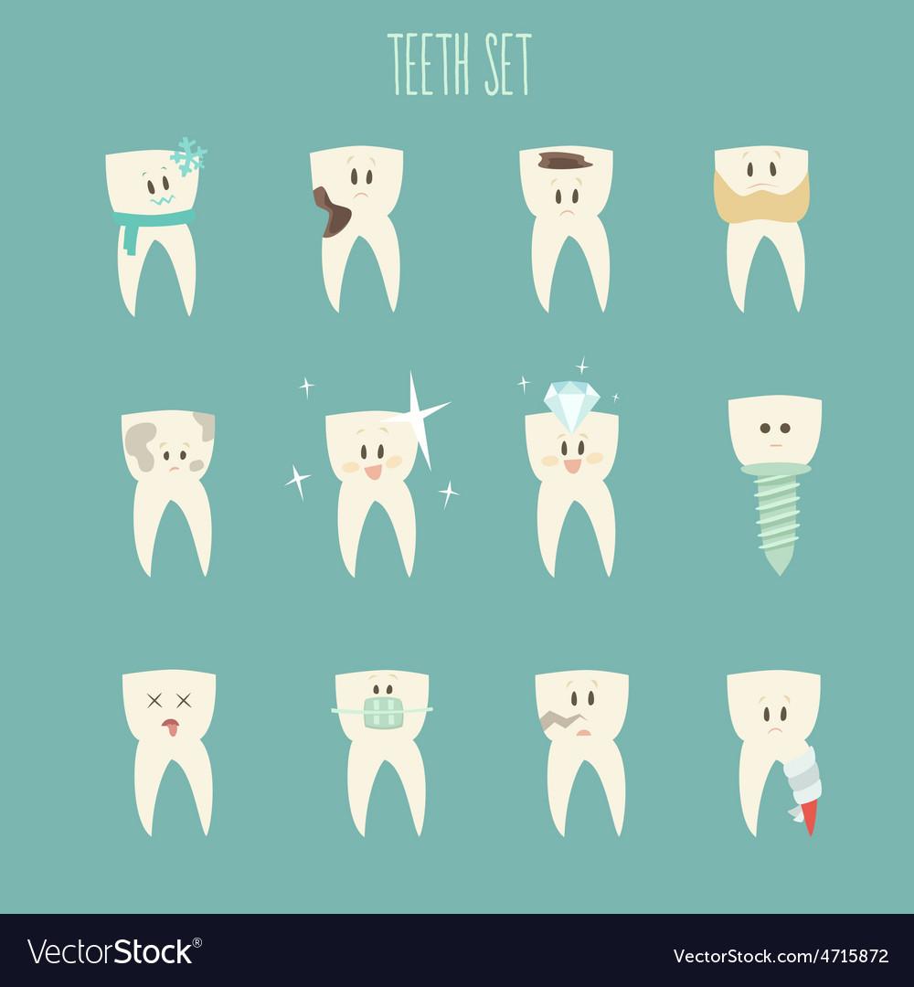 Teeth icon set concept of healthy vector | Price: 1 Credit (USD $1)