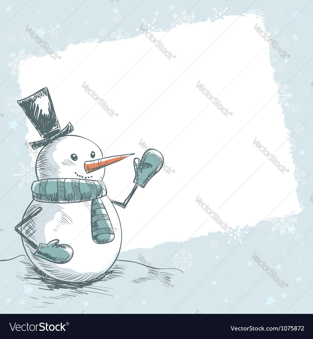 Vintage christmas card with smiling snowman vector | Price: 1 Credit (USD $1)