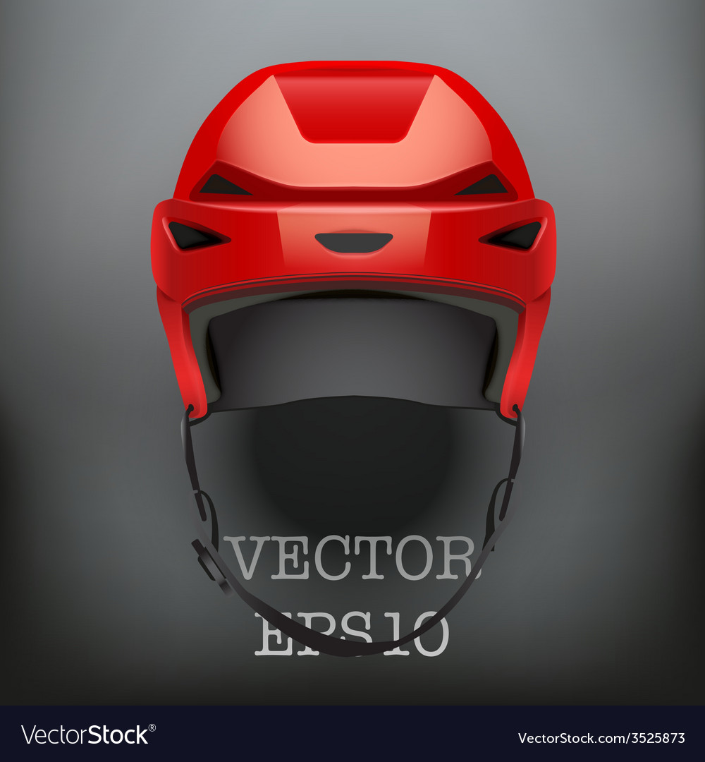 Background of classic red ice hockey helmet vector | Price: 1 Credit (USD $1)