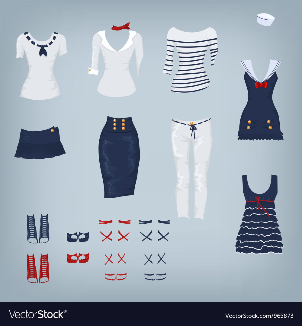 Female navy set of clothes vector | Price: 1 Credit (USD $1)