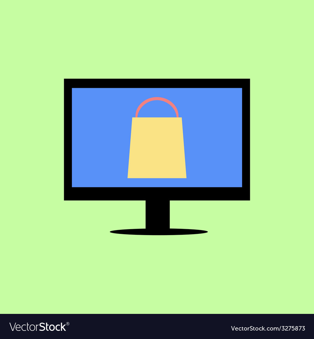Flat style computer with shopping bag vector   Price: 1 Credit (USD $1)