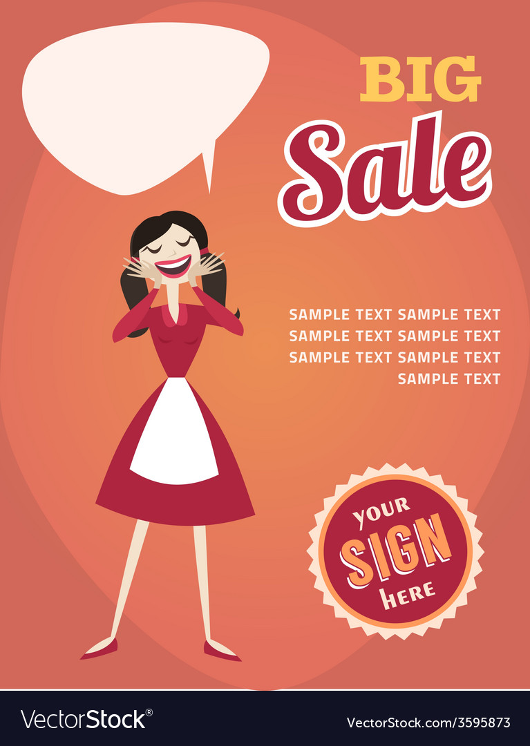 Girl or woman on shopping sale retro style sale vector | Price: 1 Credit (USD $1)