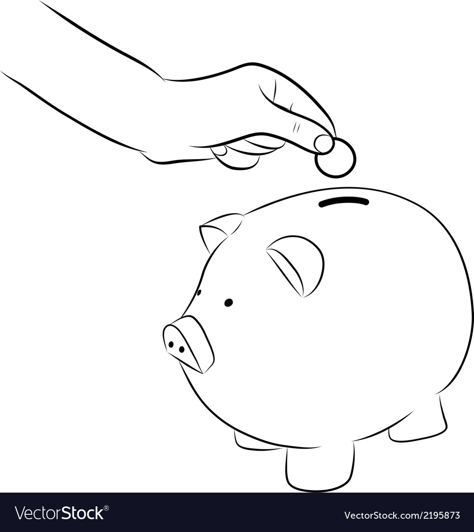 Hand putting coins into saving piggy bank vector | Price: 1 Credit (USD $1)