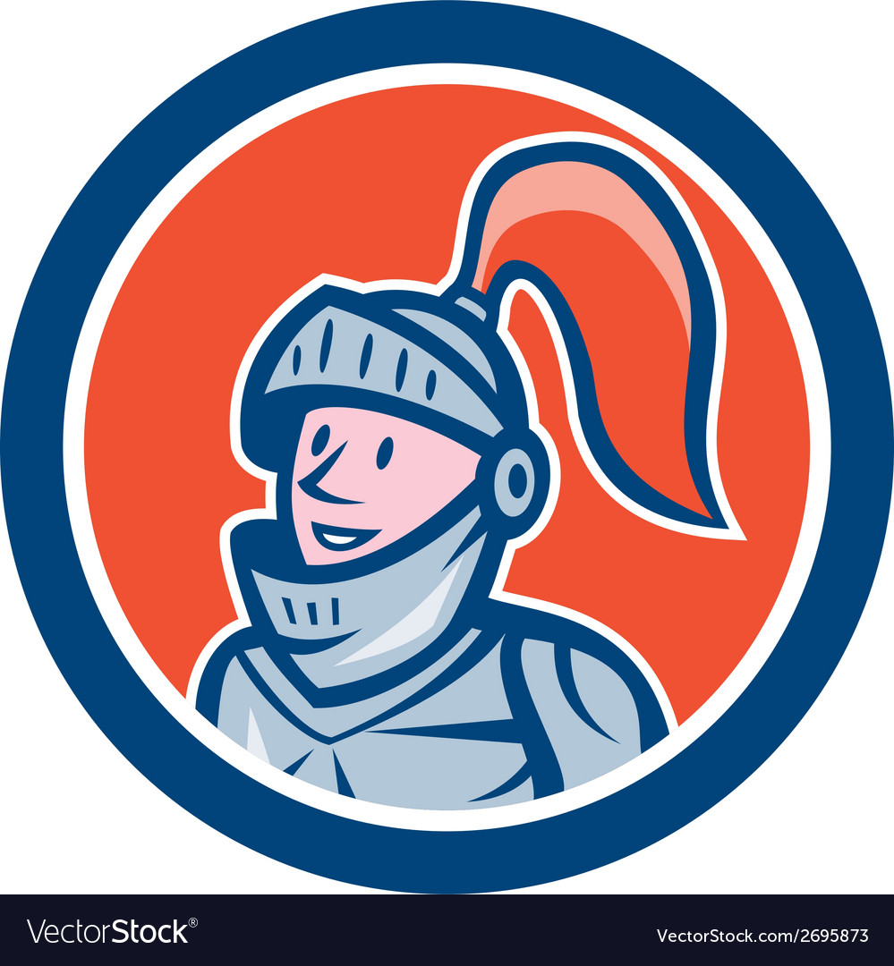 Knight head armor circle cartoon vector | Price: 1 Credit (USD $1)