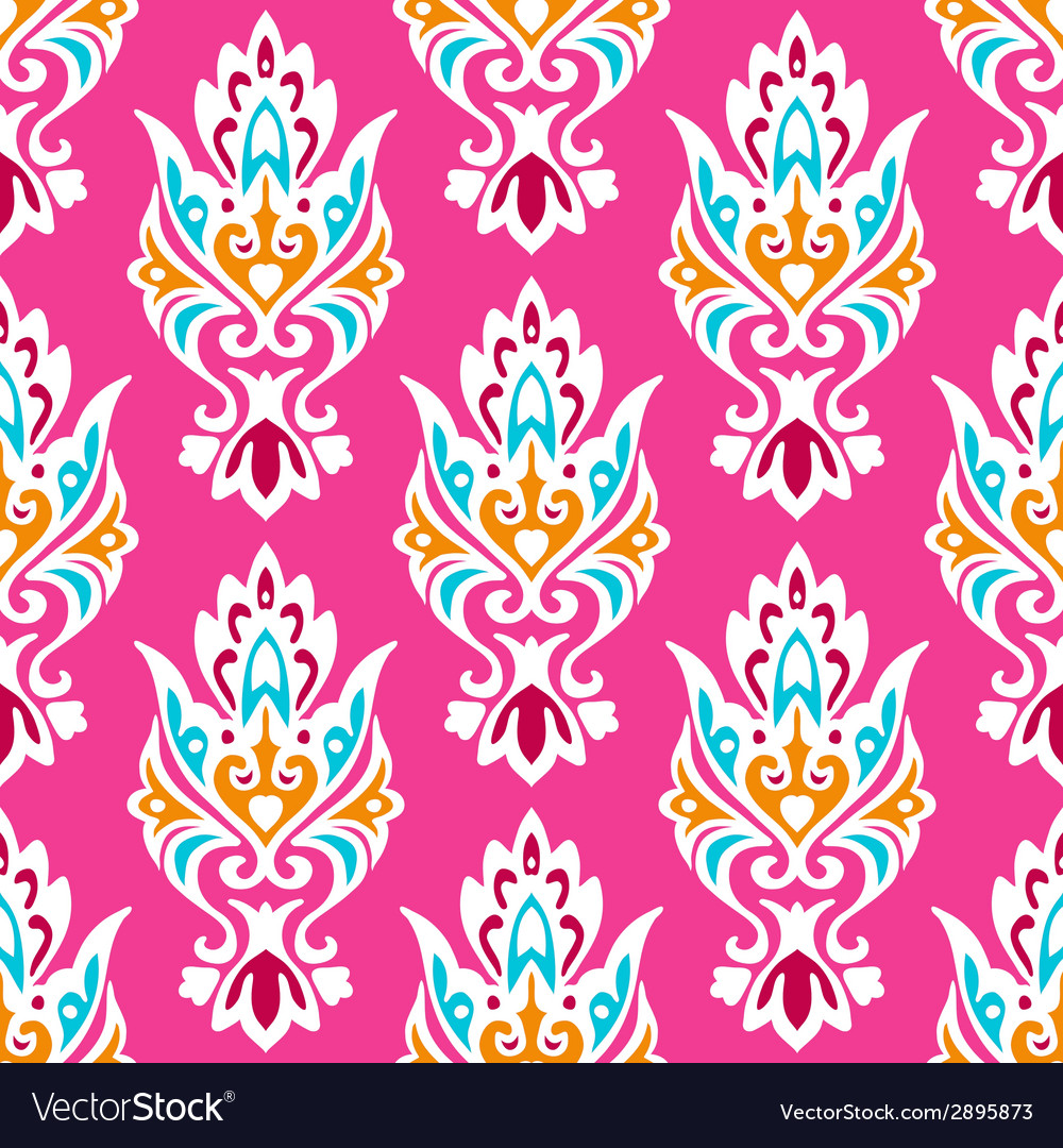 Pink damask seamless pattern vector | Price: 1 Credit (USD $1)