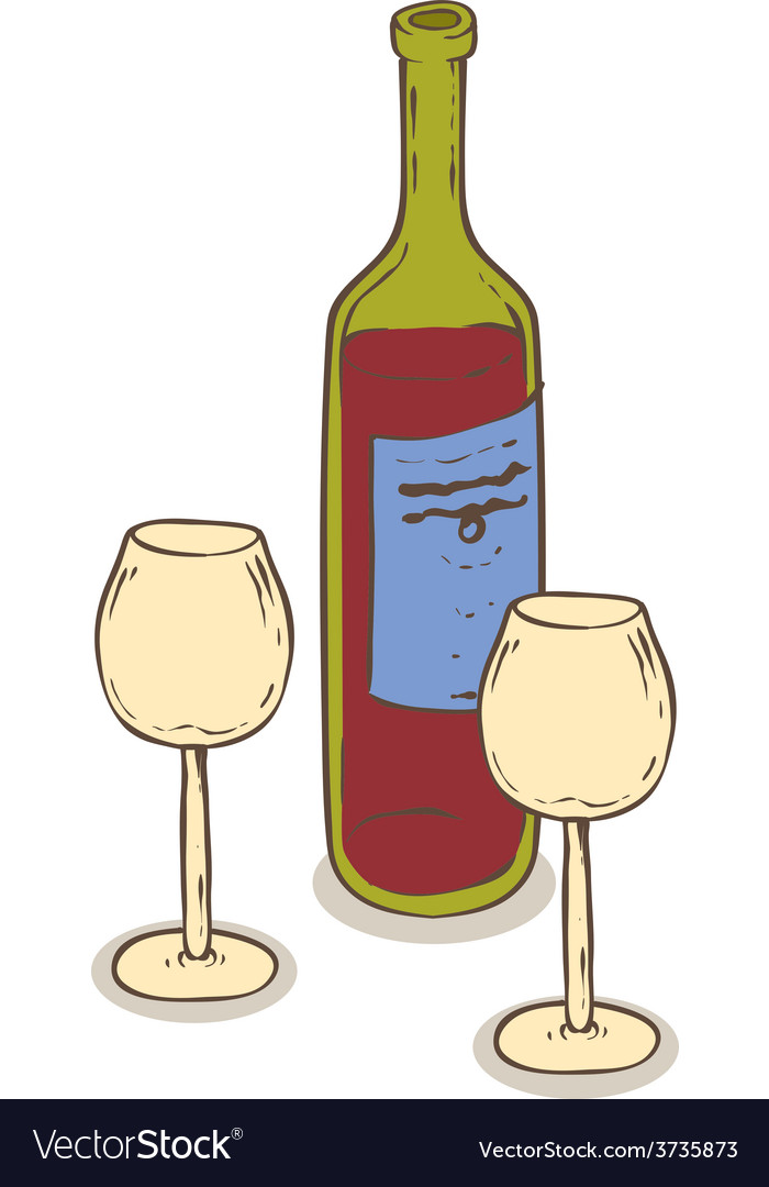 Red wine and two wineglasses vector | Price: 1 Credit (USD $1)
