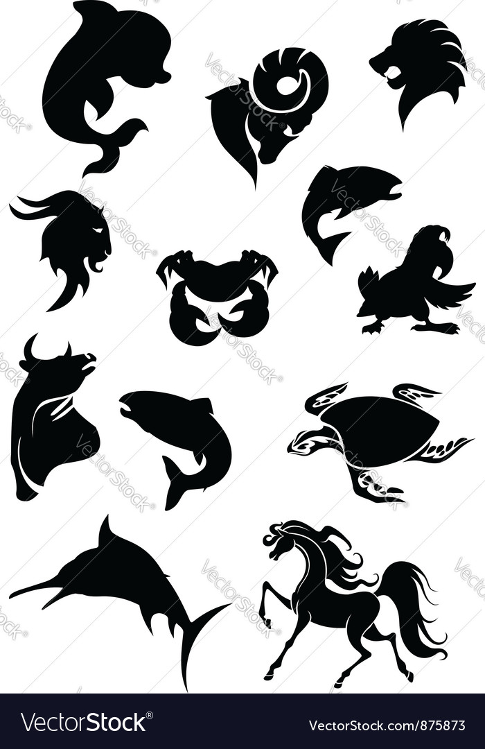Set of black animals silhouettes vector | Price: 1 Credit (USD $1)