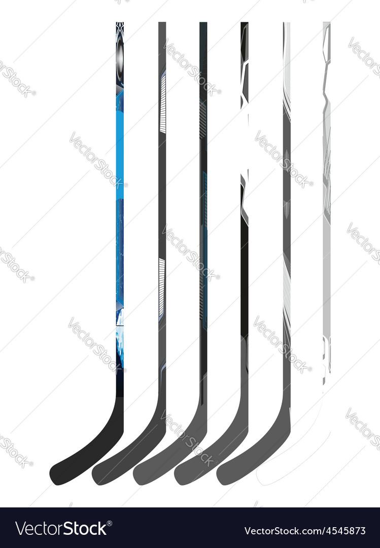 Set of hockey sticks vector