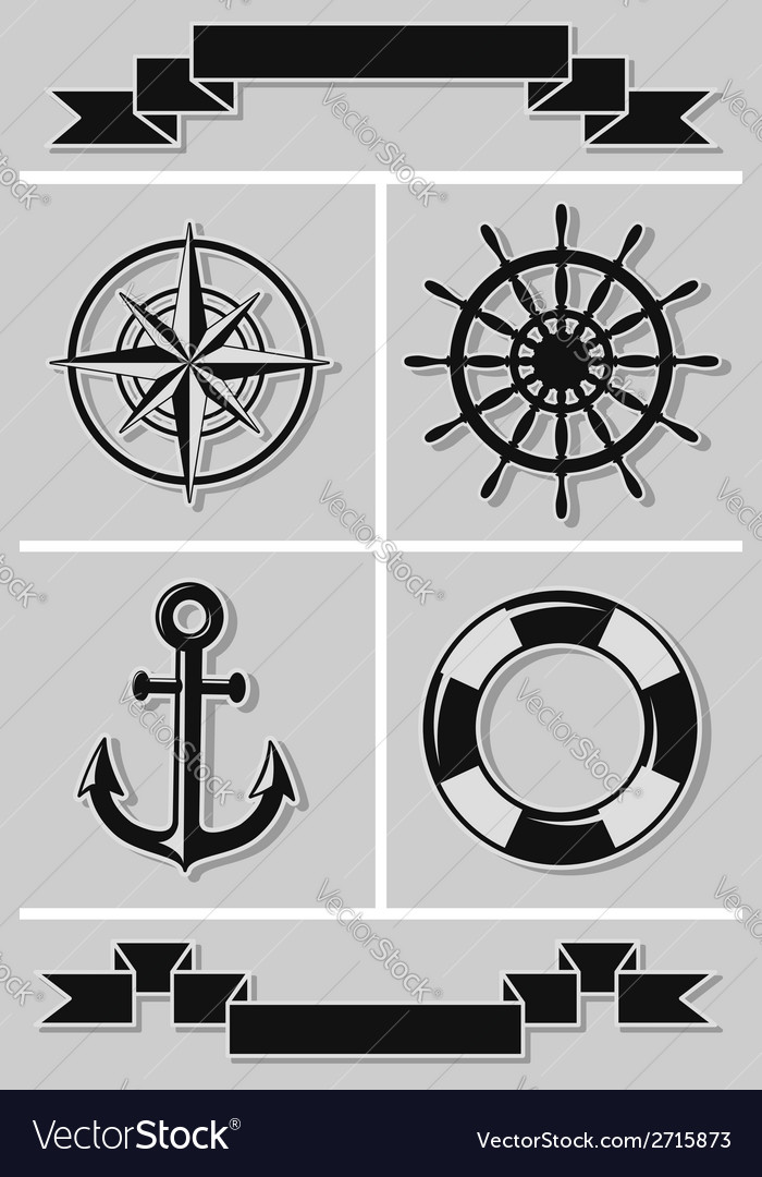 Set of nautical icons and ribbons flat design vector | Price: 1 Credit (USD $1)