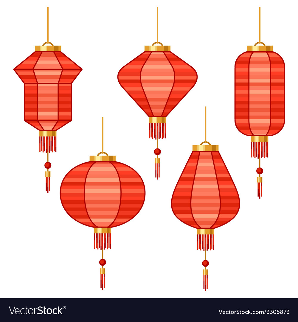 Set of various abstract red chinese lanterns vector | Price: 1 Credit (USD $1)