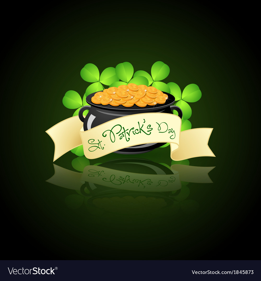 St patricks day cauldron with gold coins vector | Price: 1 Credit (USD $1)