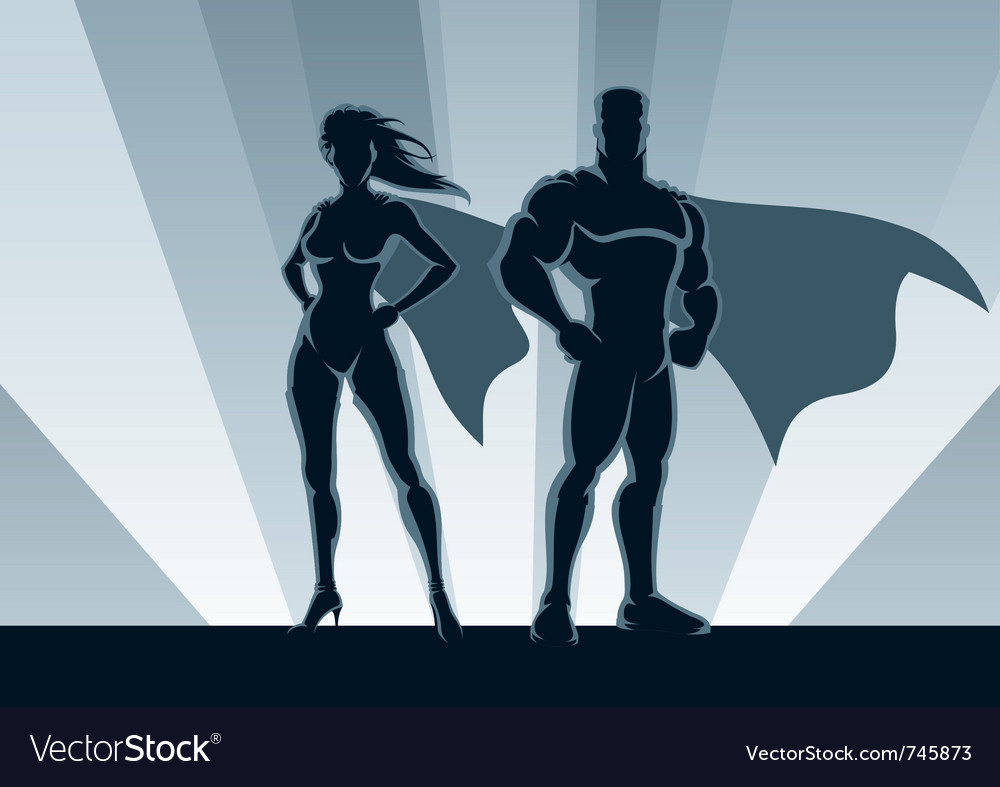 Superhero couple vector