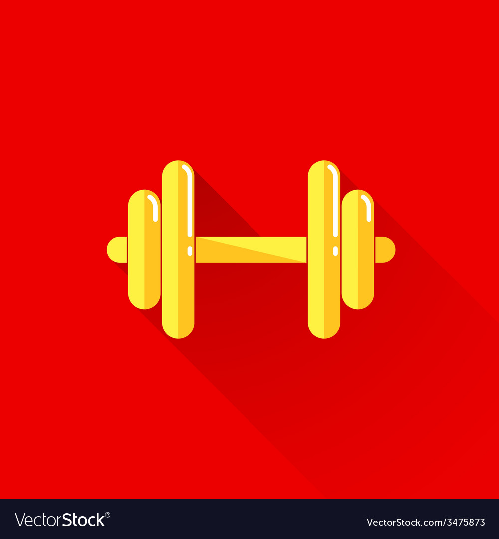 Vintage of a dumbbell in flat style with long vector | Price: 1 Credit (USD $1)