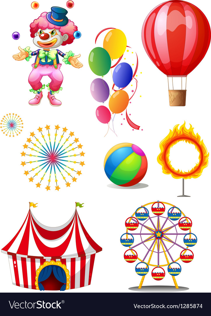 A clown playing balls with different circus stuffs vector
