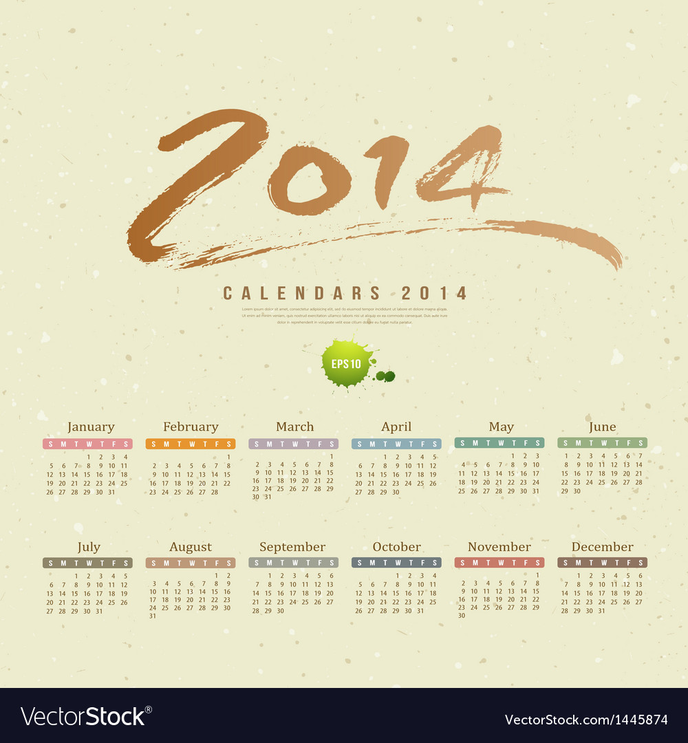 Calendar 2014 text paint brush vector | Price: 1 Credit (USD $1)