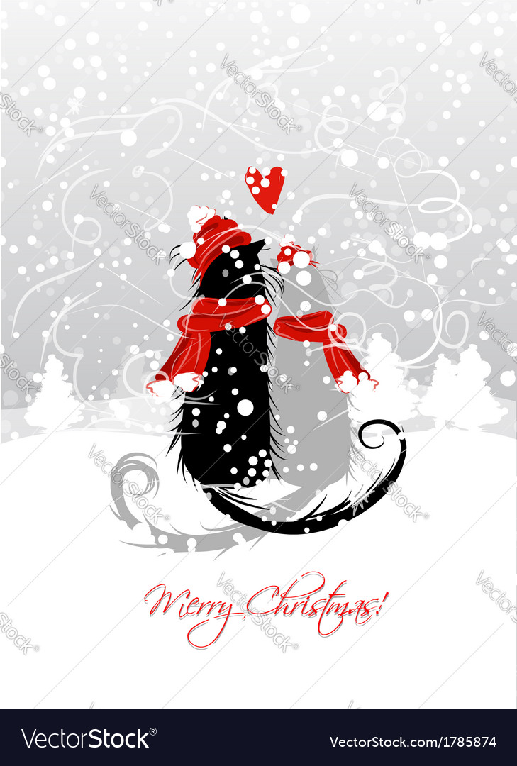 Christmas eve couple of santa cats together vector | Price: 1 Credit (USD $1)