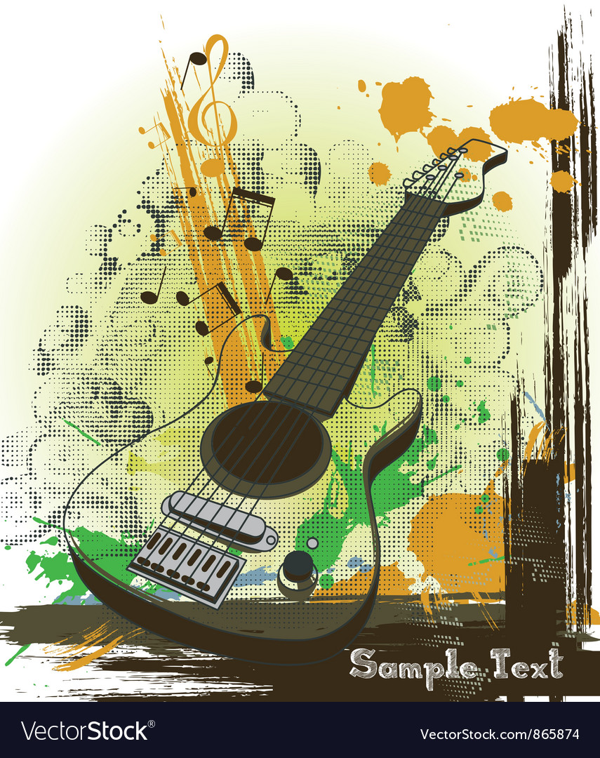 Concert poster with guitar vector | Price: 1 Credit (USD $1)