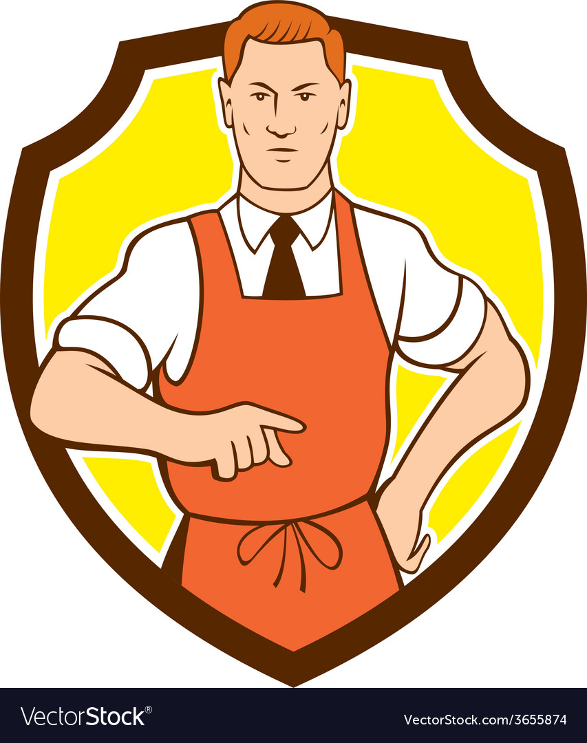 Cook chef pointing shield cartoon vector | Price: 1 Credit (USD $1)