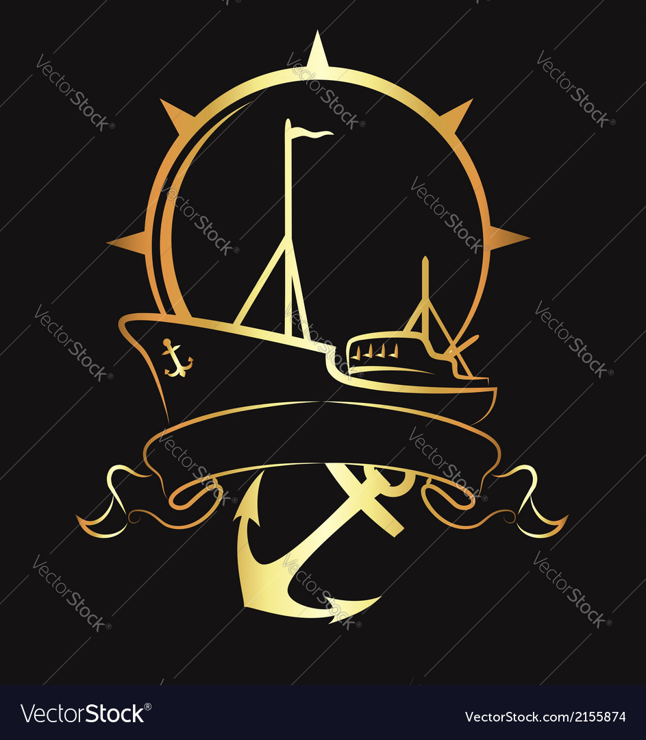 Emblem with a ship and anchor vector | Price: 1 Credit (USD $1)