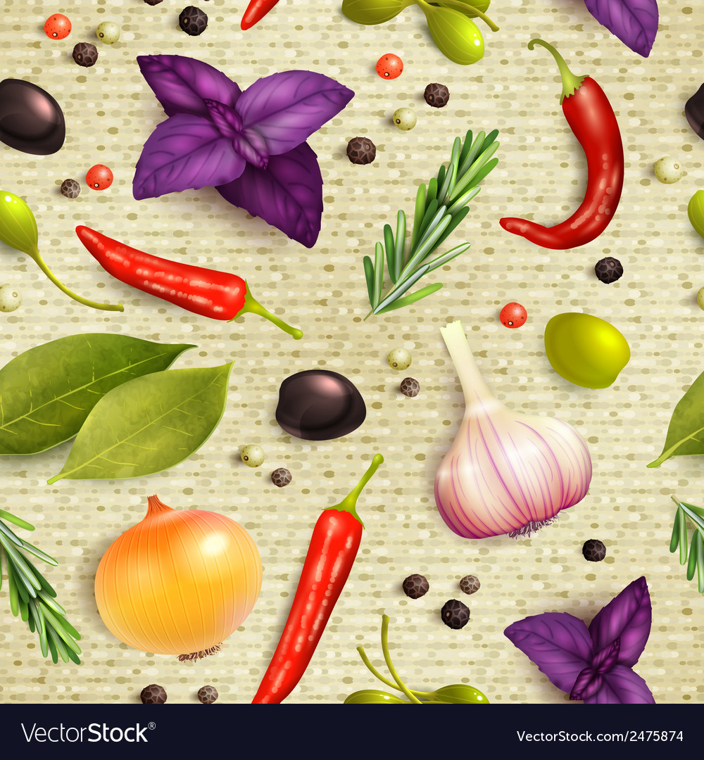 Herbs and spices seamless pattern vector | Price: 1 Credit (USD $1)