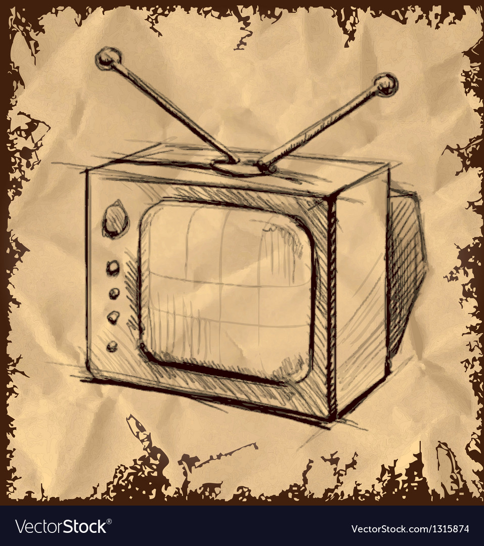 Retro tv with antenna on vintage background vector | Price: 1 Credit (USD $1)