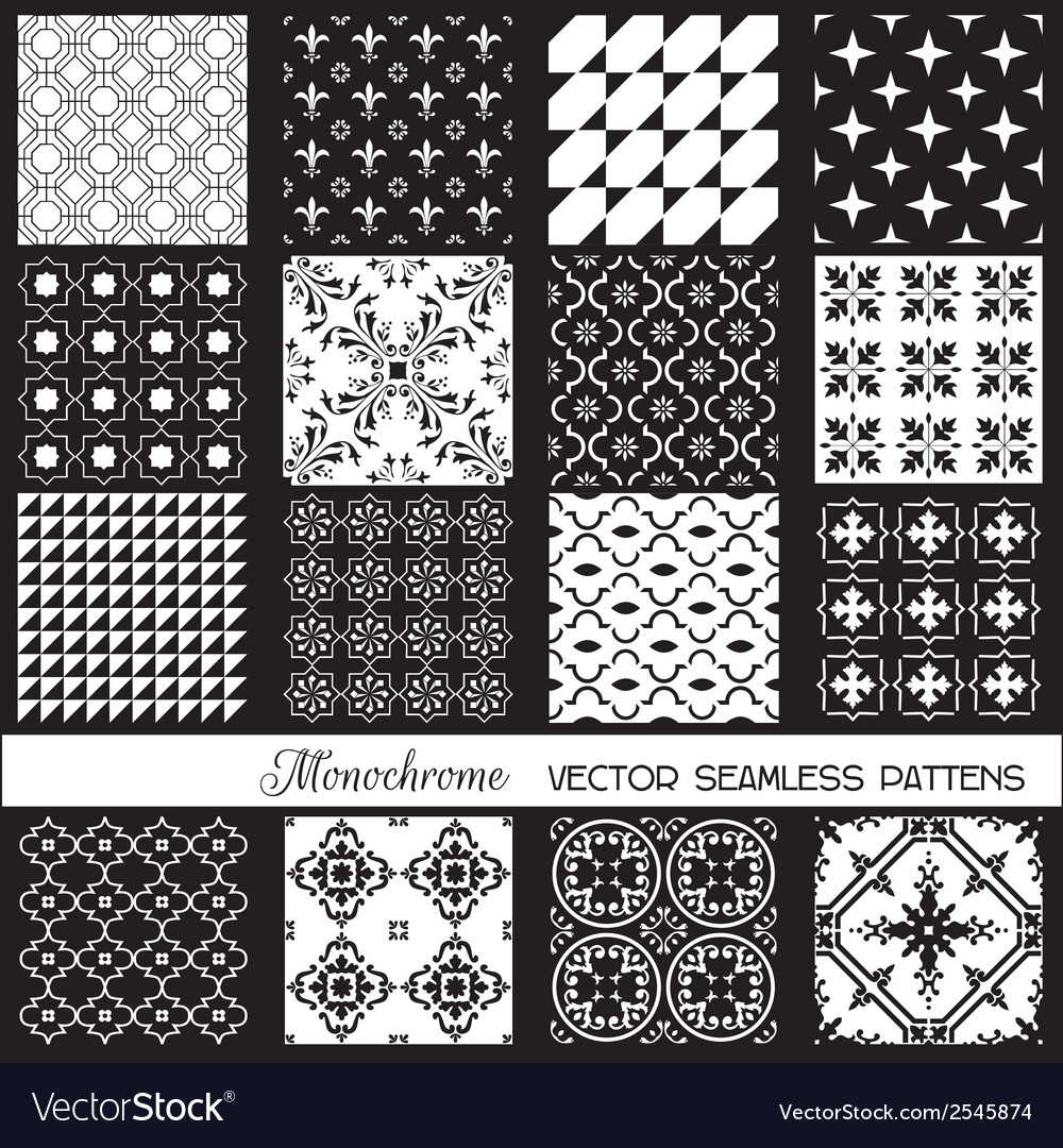 Seamless backgrounds collection - monochrome set vector | Price: 1 Credit (USD $1)