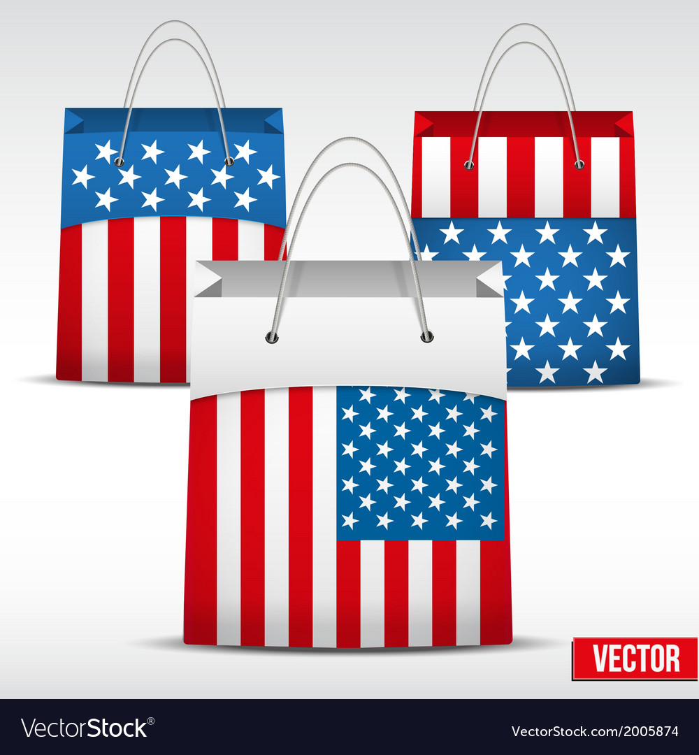 Set of shopping bag with usa flag vector | Price: 1 Credit (USD $1)