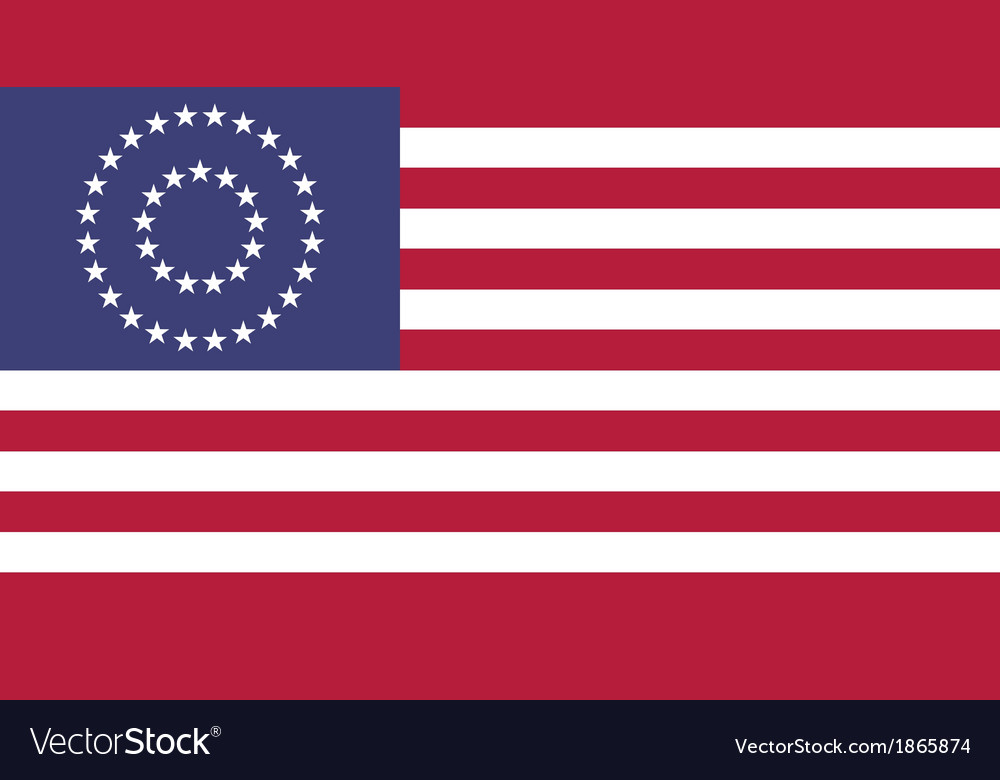 Us civil war union 37 star medalion flag flat vector | Price: 1 Credit (USD $1)