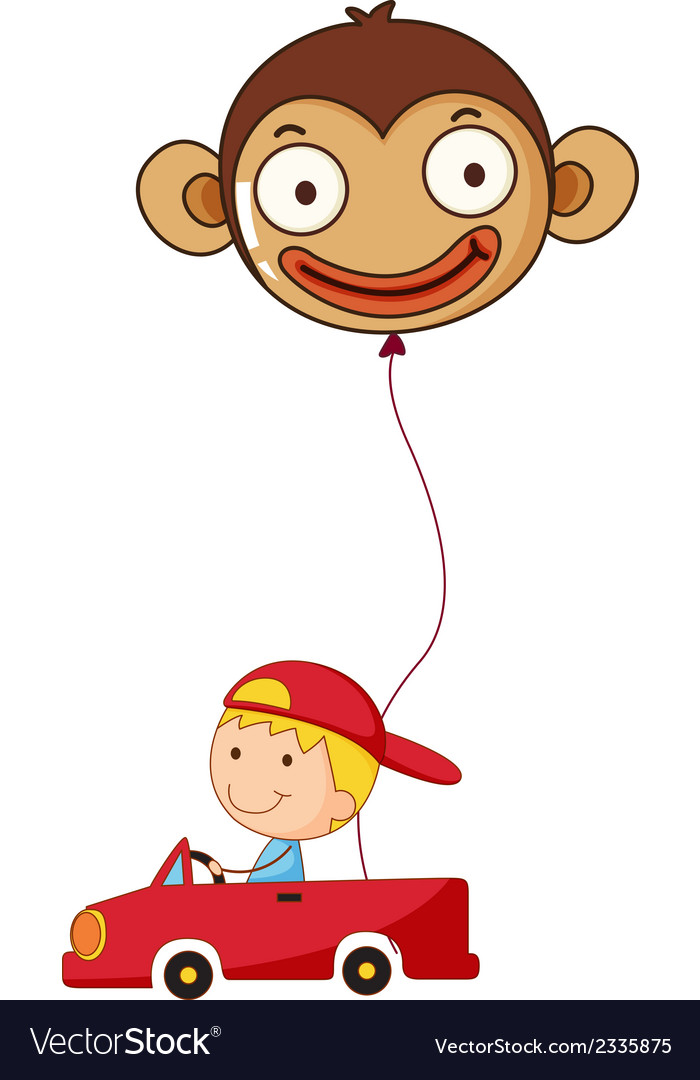 A red car with a boy and a monkey balloon vector | Price: 1 Credit (USD $1)