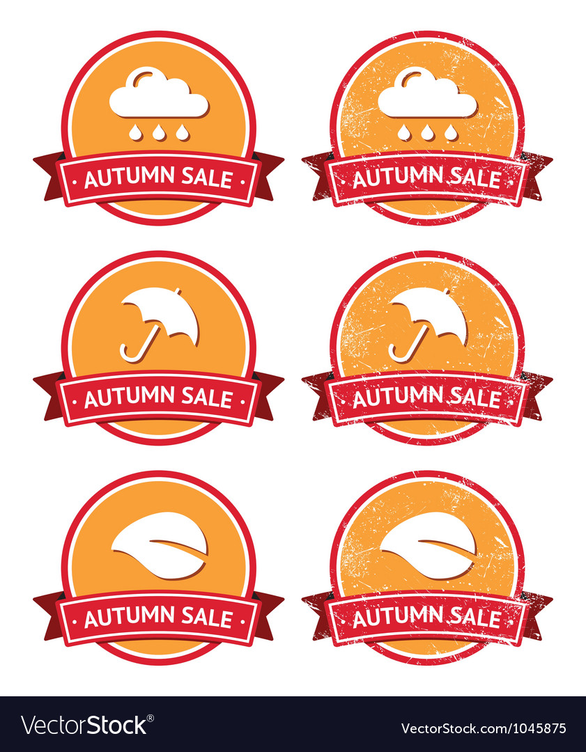 Autumn sale retro orange and red labels - grunge vector | Price: 1 Credit (USD $1)