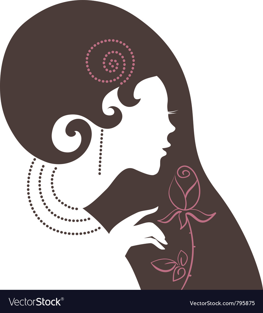 Beautiful woman silhouette with a flower vector | Price: 1 Credit (USD $1)