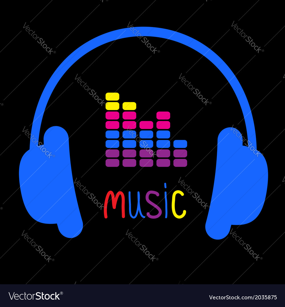 Blue headphones equalizer and colorful word music vector | Price: 1 Credit (USD $1)