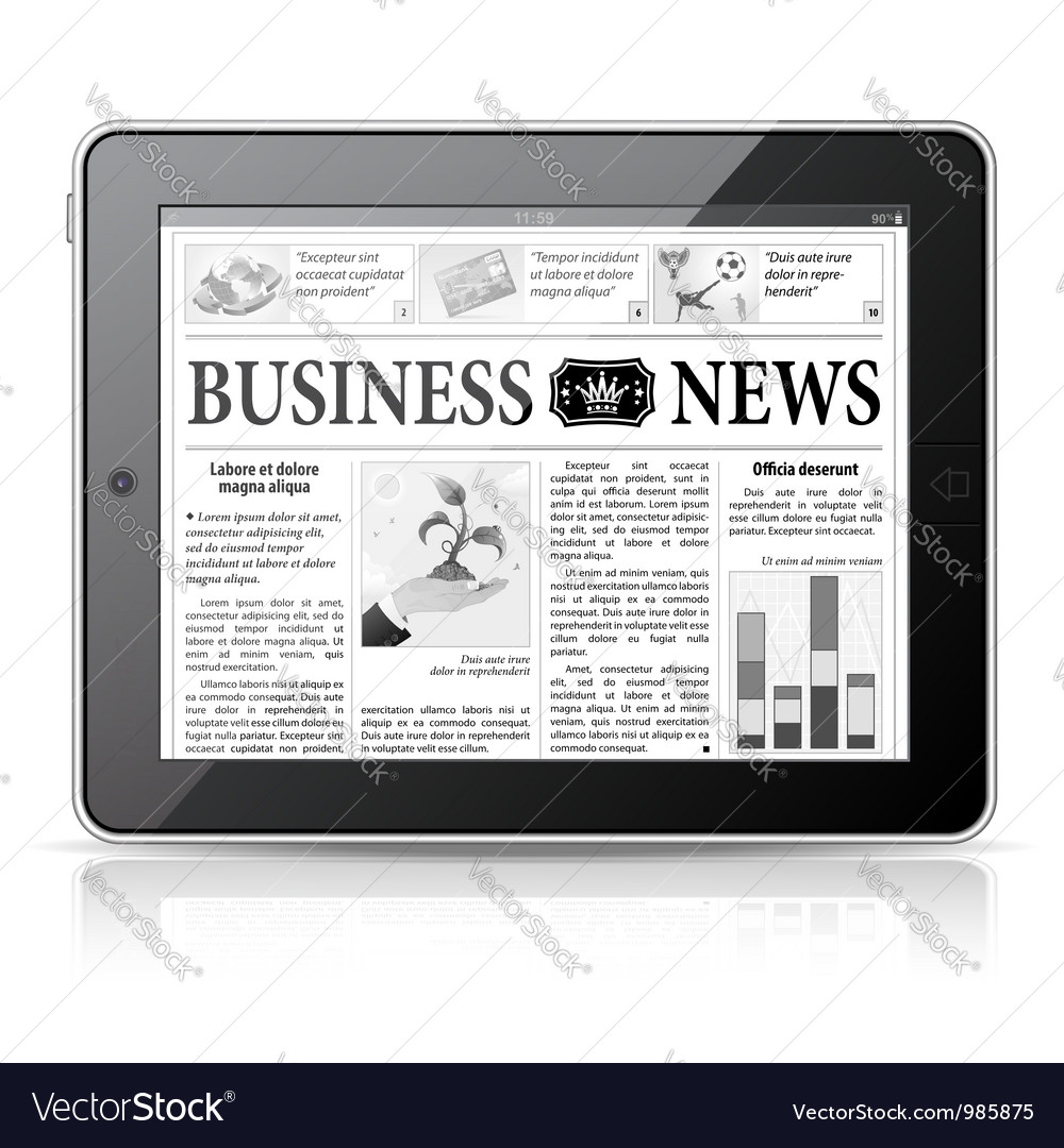 Concept - digital news tablet pc with newspaper vector | Price: 3 Credit (USD $3)