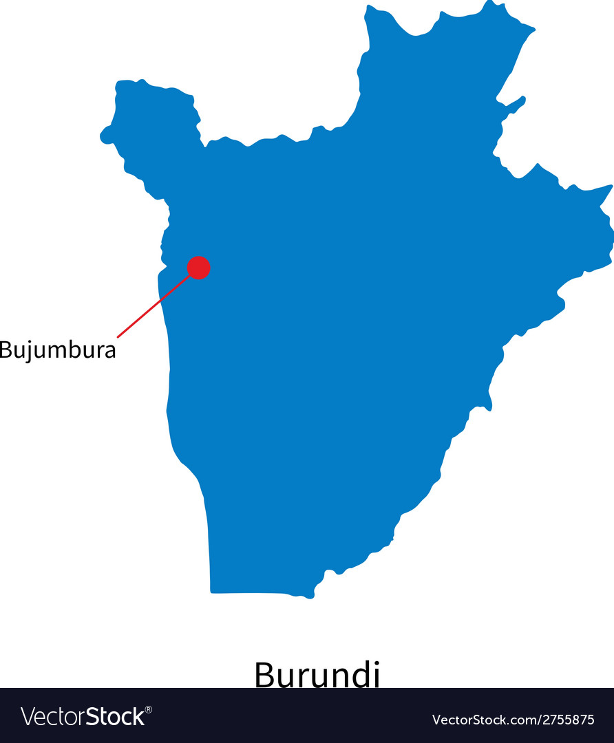 Detailed map of burundi and capital city bujumbura vector | Price: 1 Credit (USD $1)