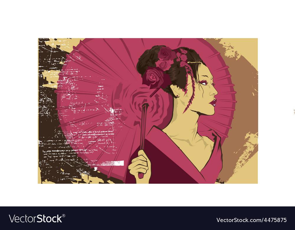 Geisha girl design vector | Price: 1 Credit (USD $1)