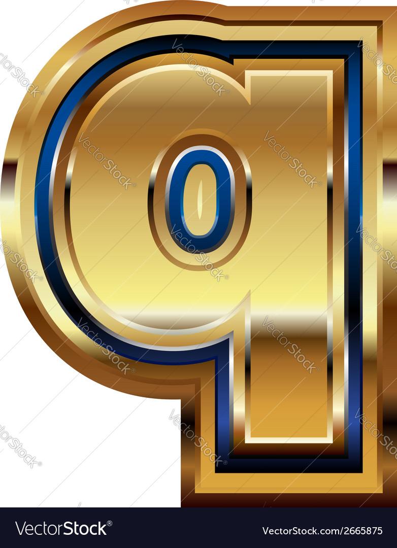 Golden font letter q vector | Price: 1 Credit (USD $1)