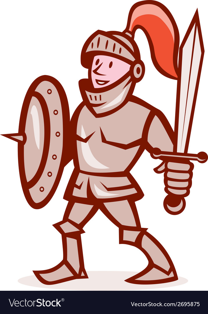 Knight shield sword cartoon vector | Price: 1 Credit (USD $1)