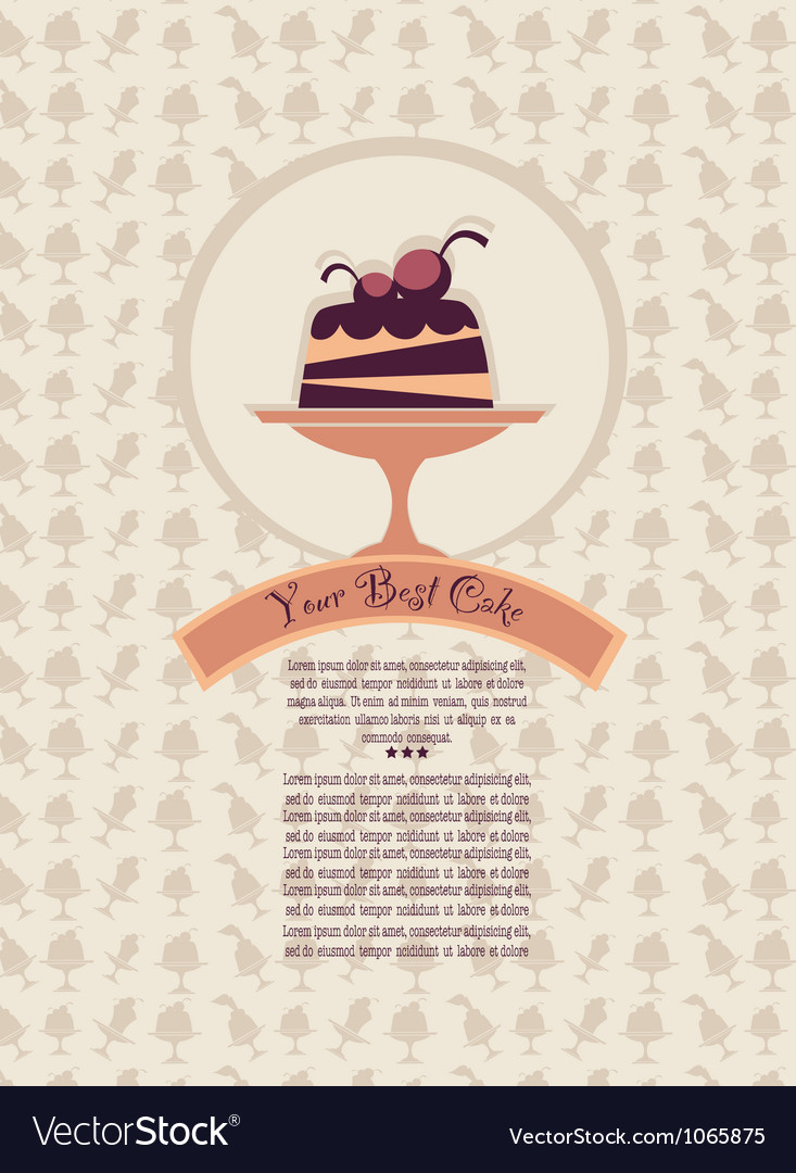 Patterned cover for your dessert menu with cakes vector | Price: 1 Credit (USD $1)