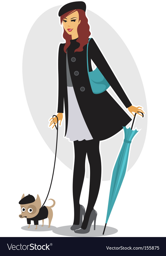 Pretty girl walking the dog vector | Price: 3 Credit (USD $3)