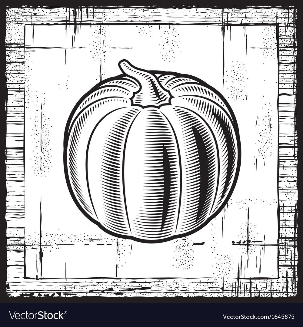 Retro pumpkin black and white vector | Price: 1 Credit (USD $1)