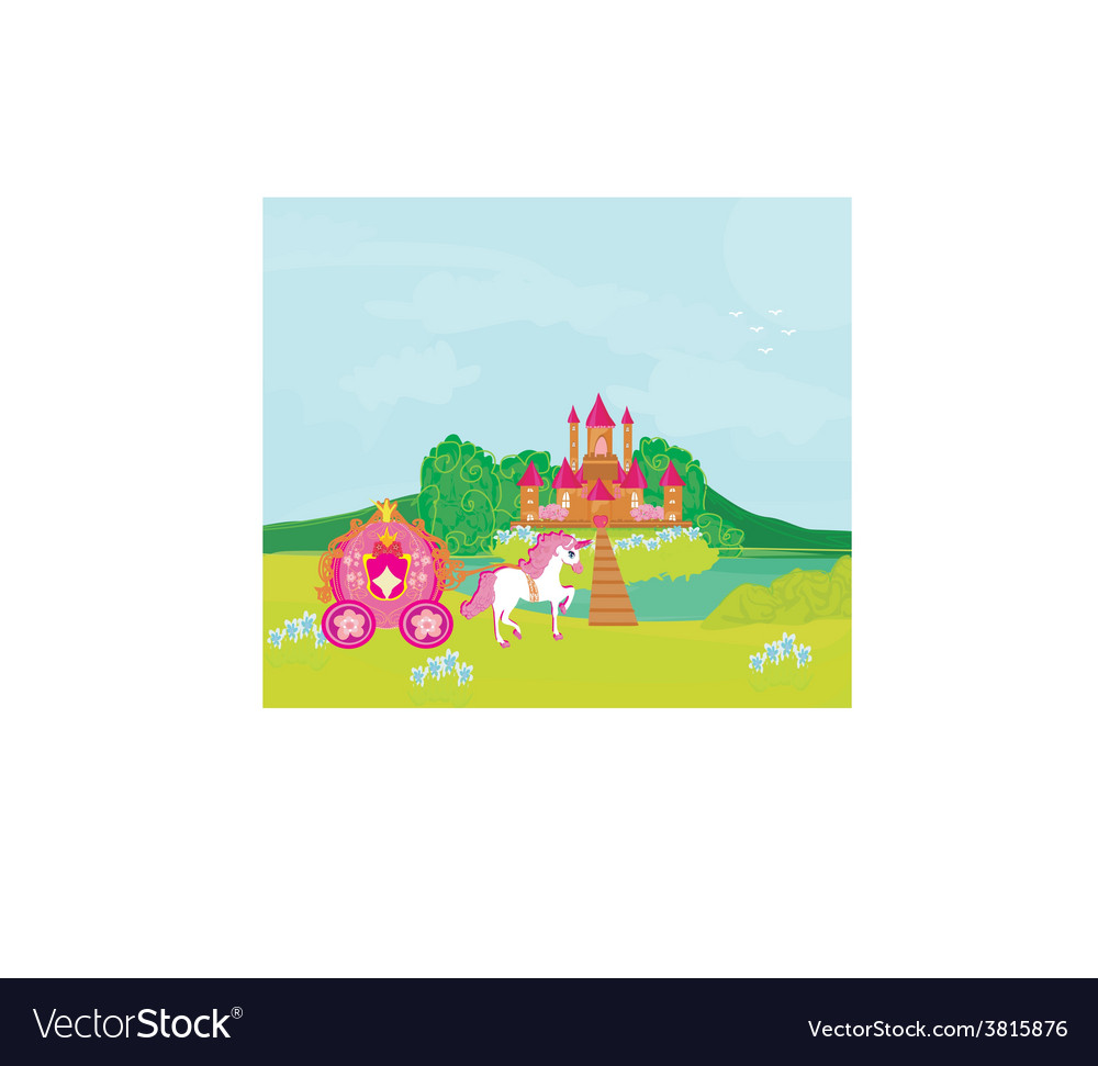 Castle and beautiful carriage vector | Price: 1 Credit (USD $1)