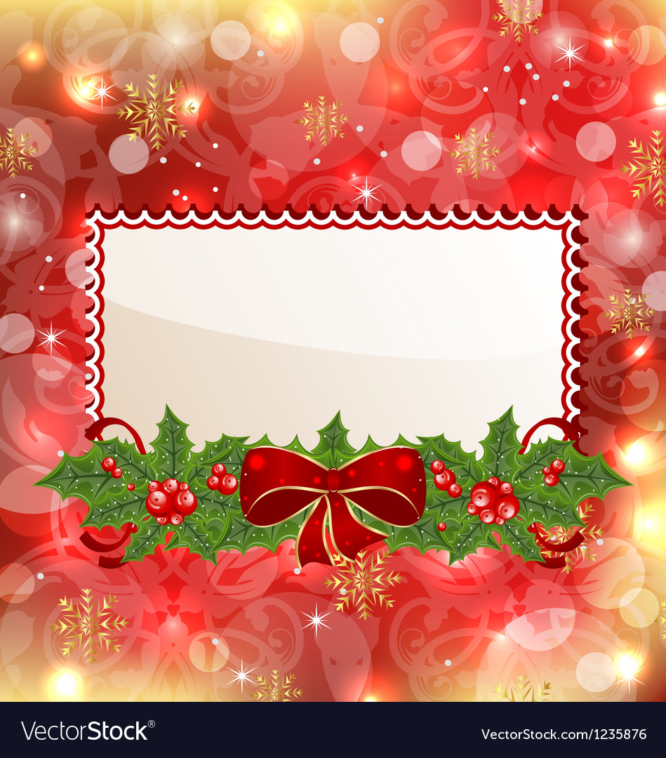 Christmas elegant card with mistletoe and bow vector | Price: 1 Credit (USD $1)