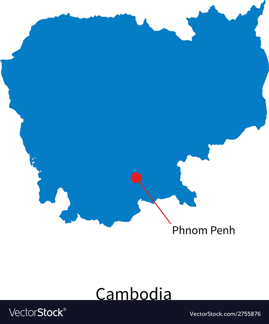 Detailed map of cambodia and capital city phnom vector | Price: 1 Credit (USD $1)